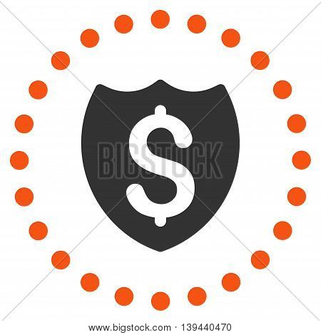 Bank Insurance vector icon. Style is bicolor flat circled symbol, orange and gray colors, rounded angles, white background.