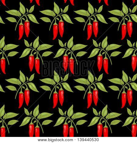 Vector seamless pattern. Bushes of red chili peppers on a black background. Illustration for design packaging, paper, wallpaper, fabrics, textiles.