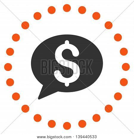 Bank Message vector icon. Style is bicolor flat circled symbol, orange and gray colors, rounded angles, white background.