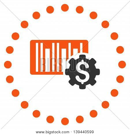Barcode Price Setup vector icon. Style is bicolor flat circled symbol, orange and gray colors, rounded angles, white background.