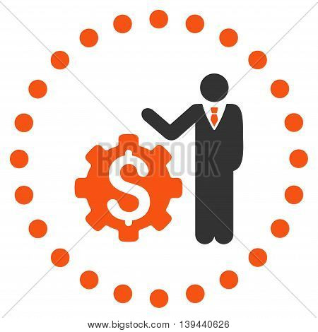 Businessman Options vector icon. Style is bicolor flat circled symbol, orange and gray colors, rounded angles, white background.