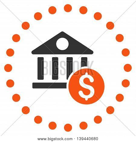 Dollar Bank vector icon. Style is bicolor flat circled symbol, orange and gray colors, rounded angles, white background.