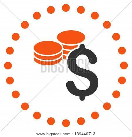 Dollar Coins vector icon. Style is bicolor flat circled symbol, orange and gray colors, rounded angles, white background.