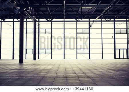architecture and construction concept - modern empty show room