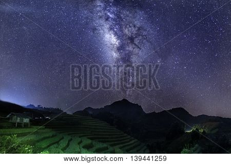 Milky Way on Rice fields on terrace in rainy season at Mu Cang Chai, Yen Bai, Vietnam. Rice fields prepare for transplant at Northwest Vietnam