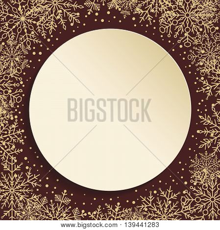 Nice vector frame with arabesques and snowflakes. Fine greeting card. Brown and golden pattern