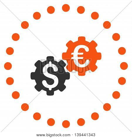 Financial Mechanics vector icon. Style is bicolor flat circled symbol, orange and gray colors, rounded angles, white background.