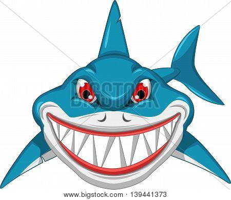 angry shark cartoon posing for you design