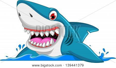 angry shark cartoon jumping in the sea