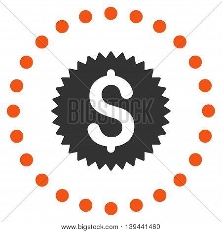 Financial Stamp vector icon. Style is bicolor flat circled symbol, orange and gray colors, rounded angles, white background.