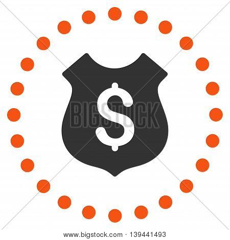 Financial Shield vector icon. Style is bicolor flat circled symbol, orange and gray colors, rounded angles, white background.