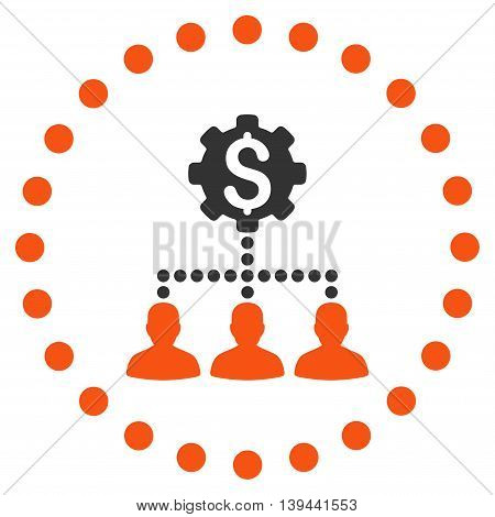 Industrial Bank Clients vector icon. Style is bicolor flat circled symbol, orange and gray colors, rounded angles, white background.