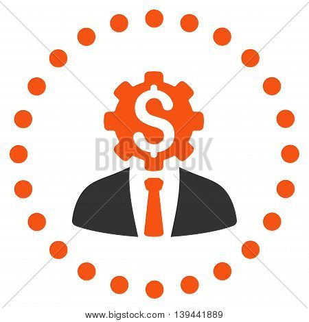 Office Worker vector icon. Style is bicolor flat circled symbol, orange and gray colors, rounded angles, white background.