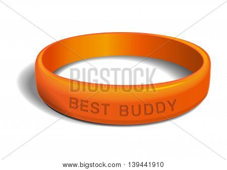 Orange plastic wristband with the inscription - BEST BUDDY. Friendship band isolated on white background. Realistic vector illustration for International Friendship Day
