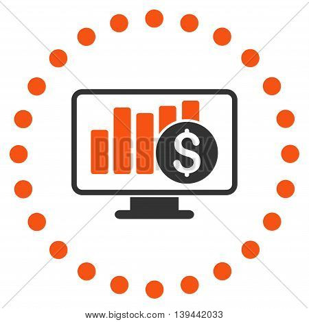Stock Market Monitoring vector icon. Style is bicolor flat circled symbol, orange and gray colors, rounded angles, white background.