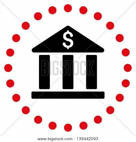 Bank Building vector icon. Style is bicolor flat circled symbol, intensive red and black colors, rounded angles, white background.