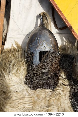 KRAKOW POLAND - MARCH 29 2016: Cracow - Knight camp during the traditional Medieval festival