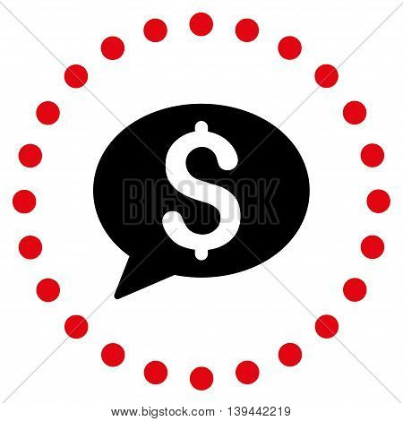 Bank Message vector icon. Style is bicolor flat circled symbol, intensive red and black colors, rounded angles, white background.