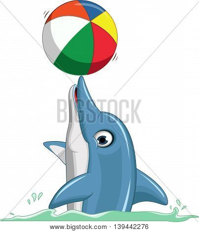 cute dolphin cartoon playing ball on the swimming pull