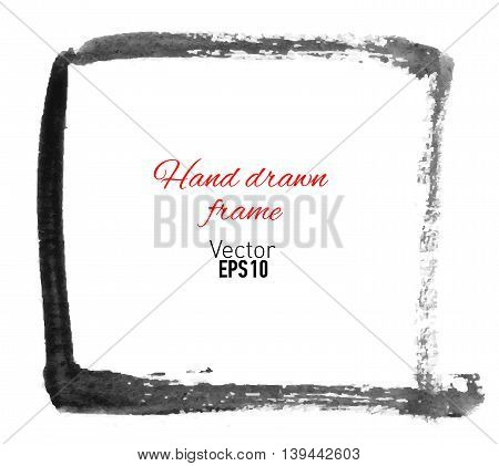 Hand drawn watercolor frame for your design. Vector illustration.
