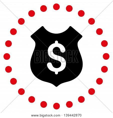 Financial Shield vector icon. Style is bicolor flat circled symbol, intensive red and black colors, rounded angles, white background.
