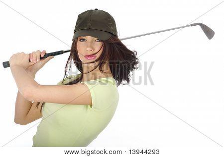 Beautiful golfer girl, swing