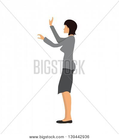 Businesswoman standing and showing or touching something. Vector illustration, isolated on white background.