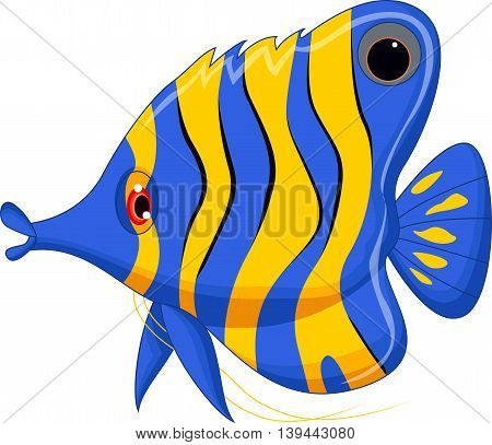 funny angelfish cartoon swimming on the sea