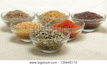 Different types of Indian spices in glass bowl, focus on fennel seeds on jute mat background. Front view.