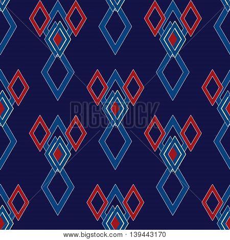 Geometrical rhombus elements seamless pattern dark background