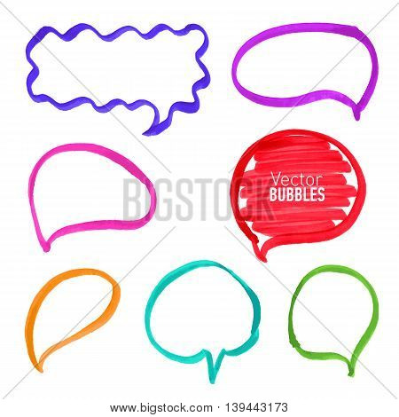 Set of hand drawn colored marker bubbles. Vector illustration.