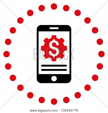 Mobile Bank Options vector icon. Style is bicolor flat circled symbol, intensive red and black colors, rounded angles, white background.