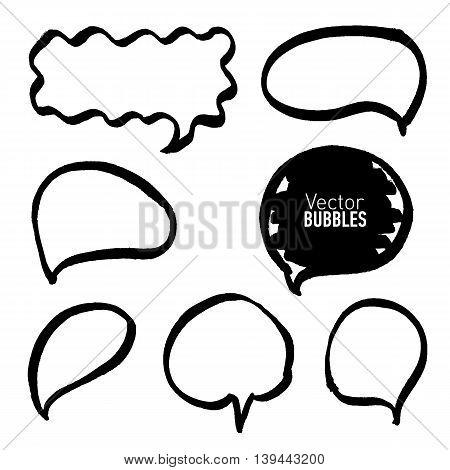 Set of hand drawn black marker bubbles. Vector illustration.