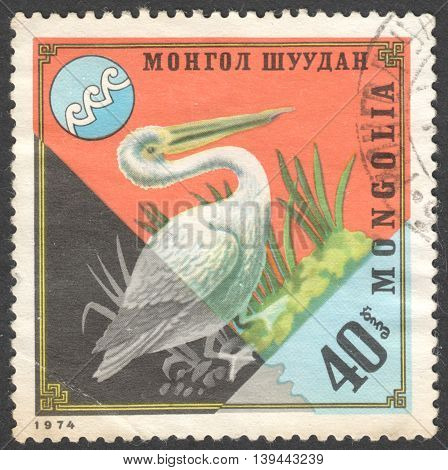MOSCOW RUSSIA - JANUARY 2016: a post stamp printed in MONGOLIA shows a bird Pelecanus crispus the series