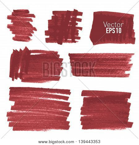 Set of hand drawn red paint stains, every stain is correctly grouped. Vector illustration.