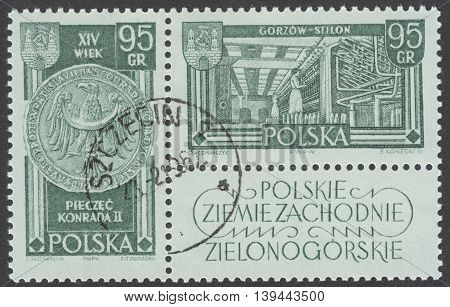 MOSCOW RUSSIA - CIRCA JANUARY 2016: a post stamp printed in POLAND shows King Konrad II and