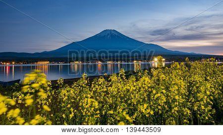 landscape Mount fuji at Lake kawaguchikoc Sunset vintage