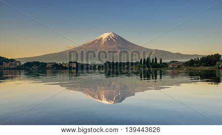 Landscape Mount Fuji reflected in Lake Japan.