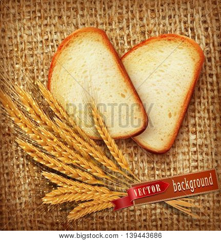 vector background with slices of sliced bread (loaf) lying on the background of burlap with of scattered flour and wheat ears