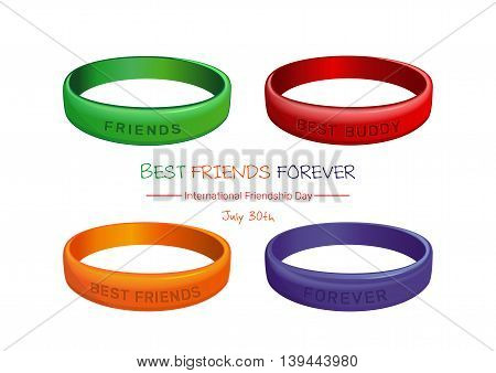 Poster for International Friendship Day. Set of multicolored plastics wristband and greeting inscription. Friendship band isolated on white background. Vector illustration