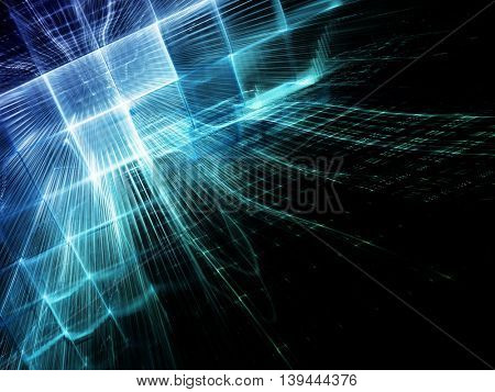 Abstract blue background element. Fractal graphics series. Three-dimensional composition of glowing grids. Information technology or sci-fi concept.