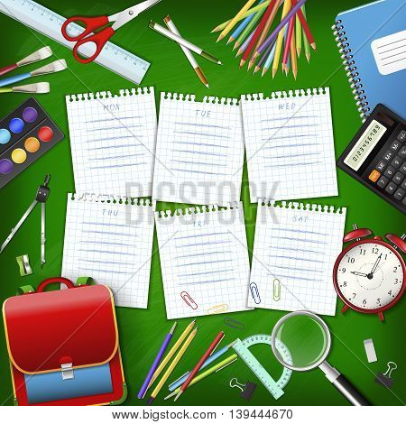 School timetable on sheets of checkered paper with supplies tools on green classroom chalkboard. Hand-drawn schedule on notepad pages. Layered realistic vector illustration.