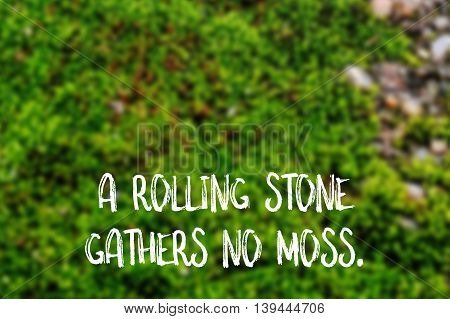 A rolling stone gathers no moss English saying illustrated