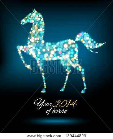 New Year Card with Horse of lights. Vector illustration