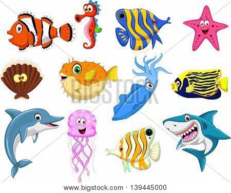 set of sea life cartoon for you design