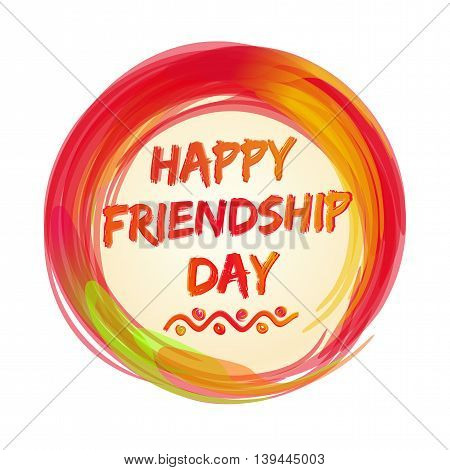 Happy Friendship Day lettering logo icon. Greeting inscription. Stylized watercolor. Vector illustration