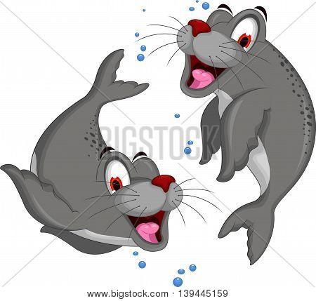 cute couple Seal cartoon for you design