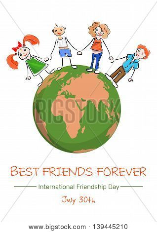 Friendship Day concept. Planets Earth people holding hands and inscription Happy Friendship Day. Vector illustration