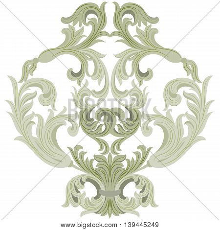 Vector damask ornament. Exquisite Baroque template. Classical luxury fashioned damask ornament Royal Victorian texture for textile wrapping. Lint green color ornament