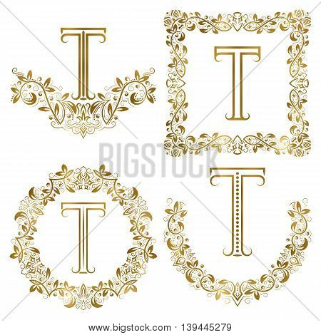 Golden T letter ornamental monograms set. Heraldic symbols in wreaths square and round frames.